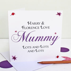 Personalised 'Love Mummy Lots' Greeting Card - cards & wrap