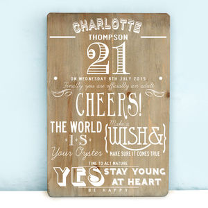 Personalised 21st Birthday Wooden Print