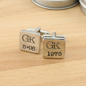 Personalised Special Date Pewter Cufflinks - men's jewellery