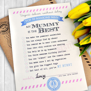 Personalised 'Best Mummy' Certificate