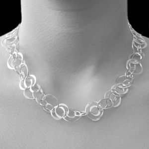 Interlinking Hoop Statement Sterling Silver Necklace