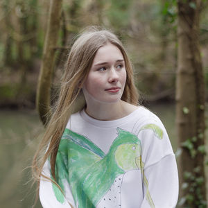 Hand Painted Big Hummingbird Sweater