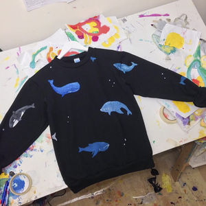 Hand Painted Whales Jumper - women's fashion