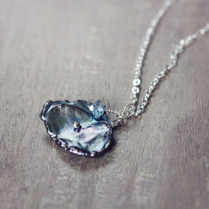 Grey Pearl And Blue Diamond Necklace - gifts for her