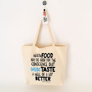 'Health Food' Quote Canvas Shopper Bag - bags & purses