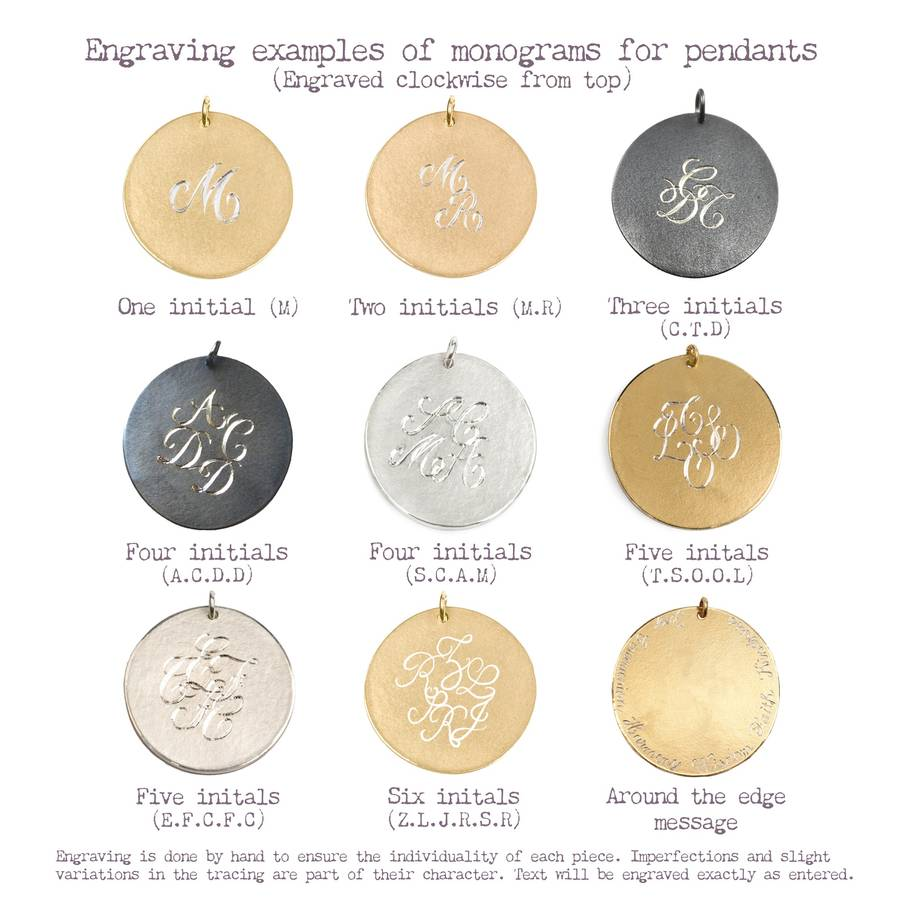 9ct gold lace rose pendant with personalised medals by sibylle monogram engraving chart mozeypictures Choice Image
