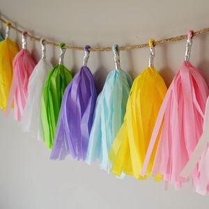 Spring Tissue Paper Tassel Garland - bunting & garlands