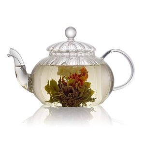Ribbed Glass Teapot 800ml With Filter
