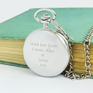 Personalised Pocket Watch With Engraved Message - wedding fashion