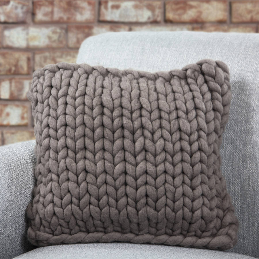 barnstaple chunky knitted panel cushion by lauren aston notonthehighstreet.com