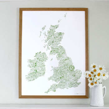British Isles Word Map Print / Green