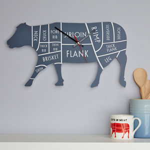 Butcher's Meat Cuts Cow Clock - kitchen