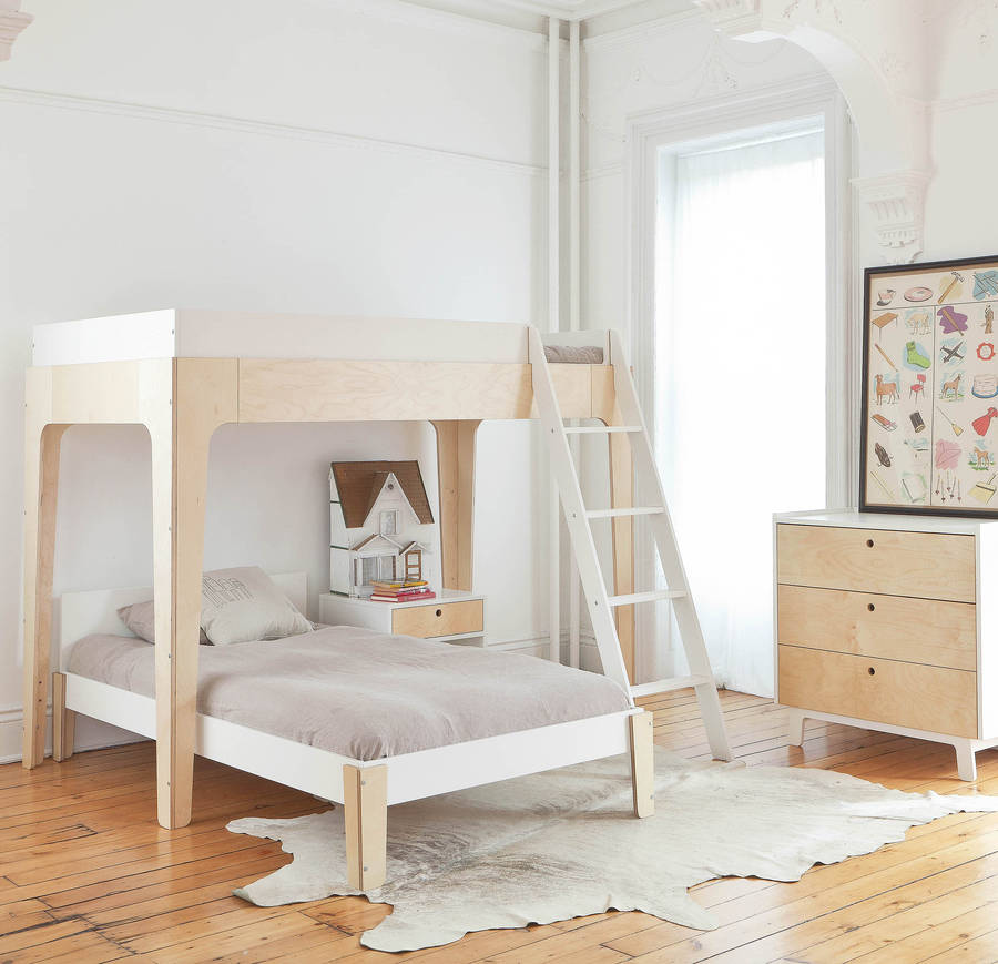 Contemporary Bunk Bed White And Birch By Nubie Modern Kids Boutique