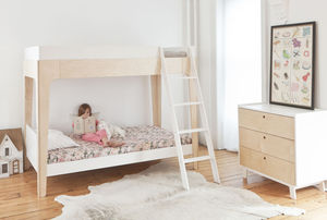 Contemporary Bunk Bed White And Birch - children's room