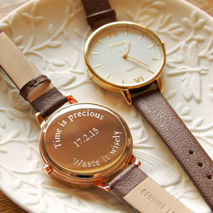 Ladies' Watch With Leather Strap - gifts for her