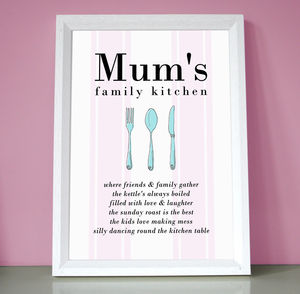 Personalised Mum's Or Nan's Kitchen Print