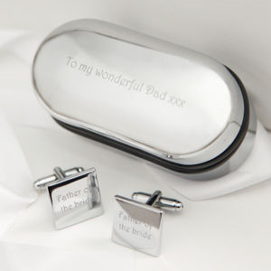 Engraved Father Of The Bride Cufflinks - wedding thank you gifts