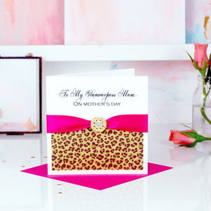 Animal Leopard Print Fancy Mothers Day Card - personalised cards