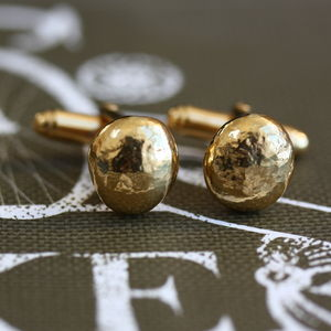 Handmade Gold Plated Pebble Cufflinks - cufflinks
