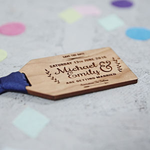 Floral Wooden Save The Date Gift Tag - wedding stationery