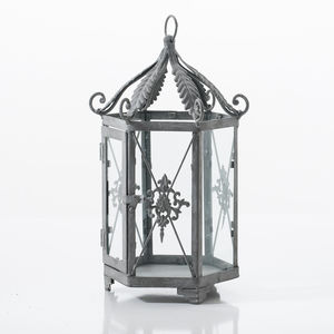 Metal Garden Lantern In Grey