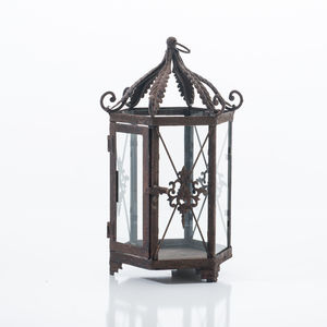 Metal Garden Lantern In Rust - lights & lanterns