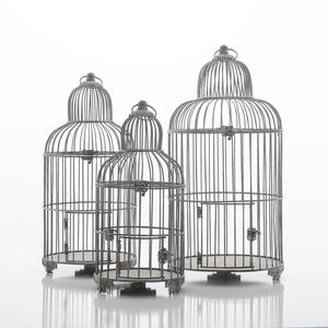 Birdcage Planter In Grey