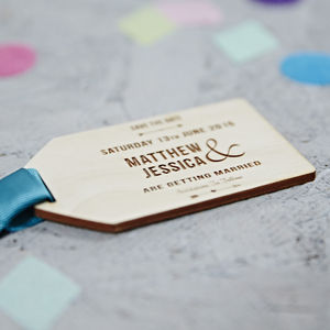 Natural Arrow Wooden Save The Date Gift Tag - wedding stationery