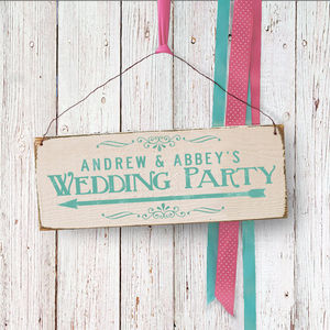 Personalised Wedding Party Direction Sign
