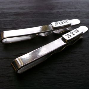 Monogram Silver Tie Slide - men's jewellery