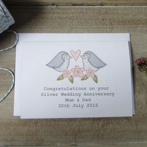 Personalised Love Bird Silver Wedding Card