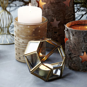Set Of Two Brass Geometric Tealight Holders - lights & lanterns