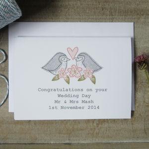 Personalised Love Bird Wedding Day Card