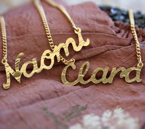 Handmade Gold Plated Name Necklace - monogram & script