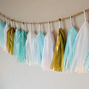 Blue, Gold And White Tissue Paper Tassel Garland