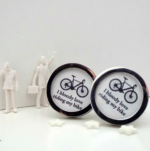 'Bloody Love Riding My Bike' Cufflinks - gifts for cyclists
