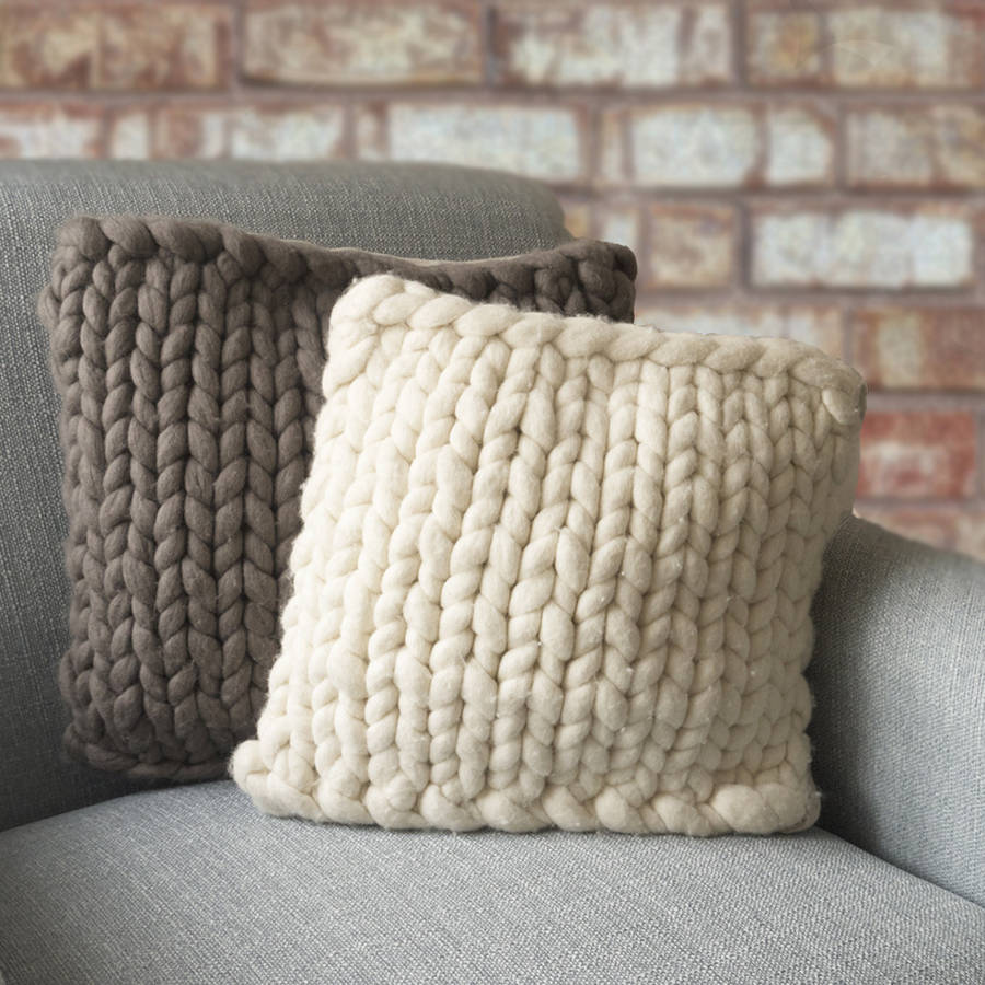 Knitting Pattern For Chunky Cushion Cover : barnstaple chunky knitted panel cushion by lauren aston notonthehighstreet.com