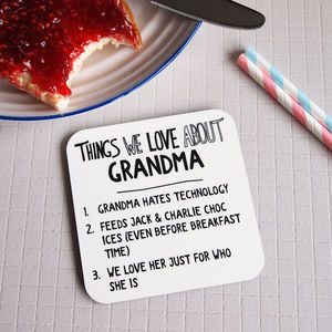 Personalised Things We Love About Grandparent Coaster