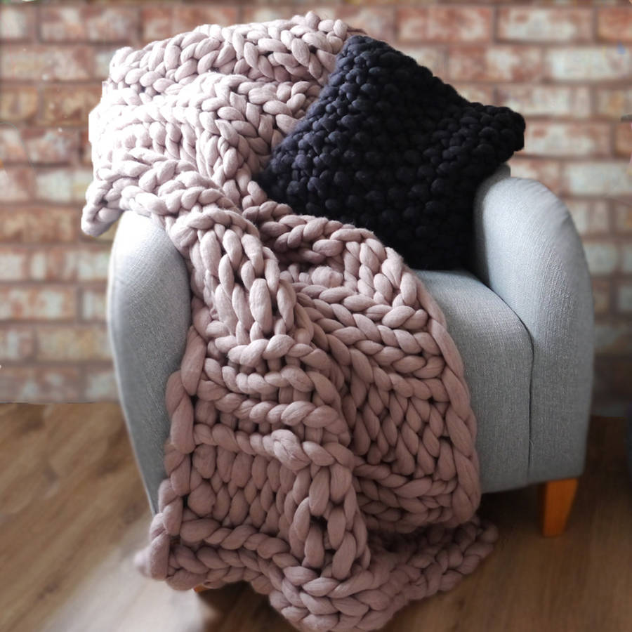 welcombe chunky hand knitted throw by lauren aston notonthehighstreet.com