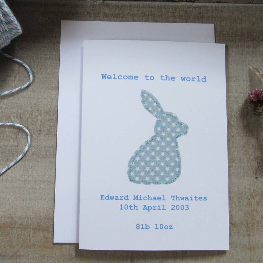 Personalised New Baby Boy Bunny Card