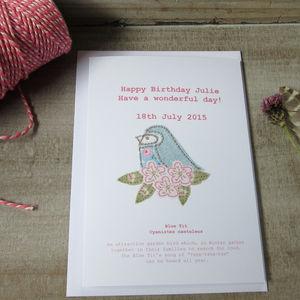 Personalised Blue Tit Birthday Card