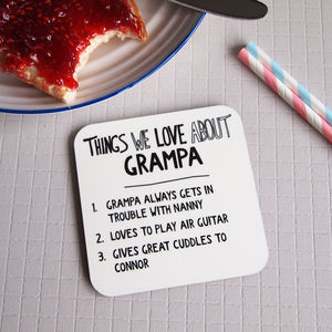 Personalised Things We Love About Grandad Coaster - kitchen