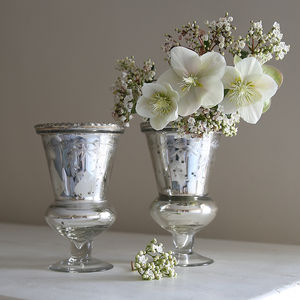 Etched Small Silver Glass Vase - vases