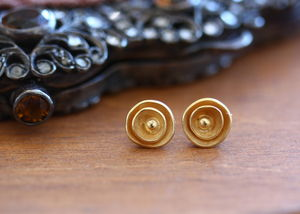 Handmade Gold Plated Rose Stud Earrings - earrings