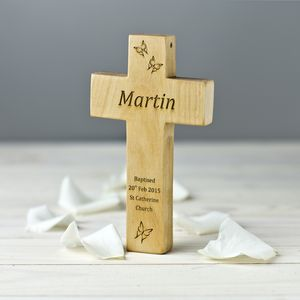 Personalised Wooden Cross Christening Keepsake Gift - holy communion celebrations