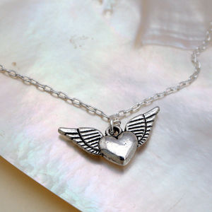 Winged Heart Silver Necklace Petite