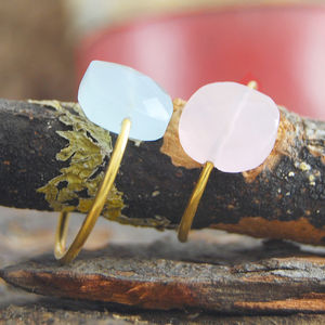 Aqua Chalcedony Faceted Gold Statement Ring