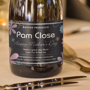 Personalised Prosecco Mother's Day Flowers Label - champagne & prosecco