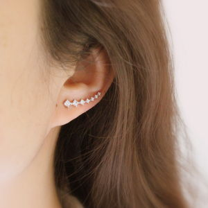 Sterling Silver Zirconia Curve Ear Cuffs - earrings
