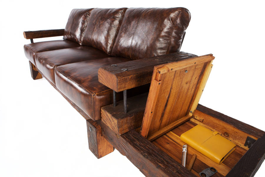 Great Derby Reclaimed Oak And Leather Sofa